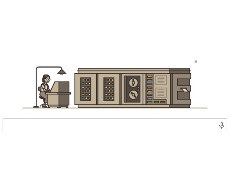 Animated Google Doodle computes the 107th birthday of Grace Murray Hopper
