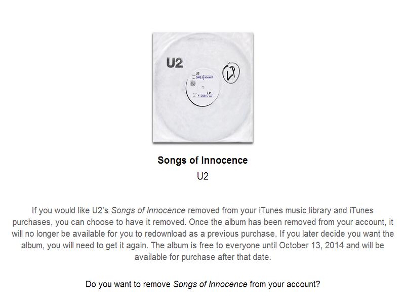 Apple provides remove button for U2 album