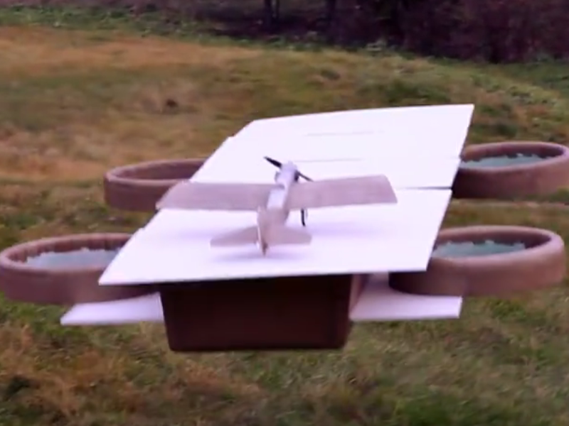 Hobbyists build 'Avengers Helicarrier' with drones and RC plane