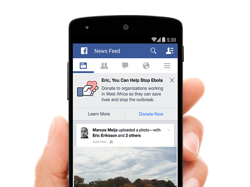 Facebook unveils new button that allows users to easily donate to Ebola fight