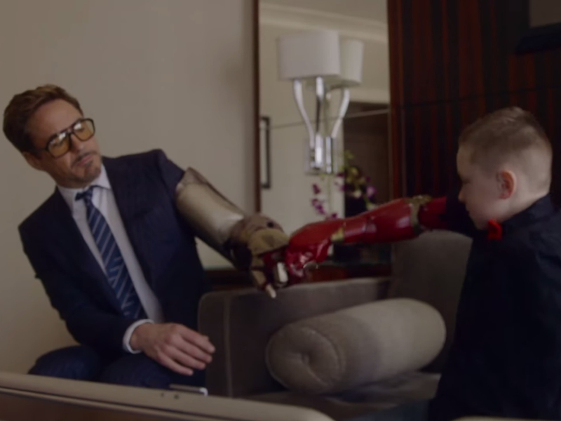 Robert Downey Jr presents 3D-printed bionic Iron Man arm to 7-year-old