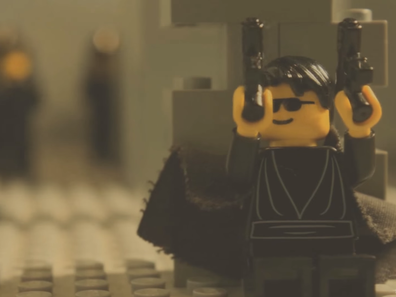 The Matrix's lobby shoot-out gets recreated in Lego