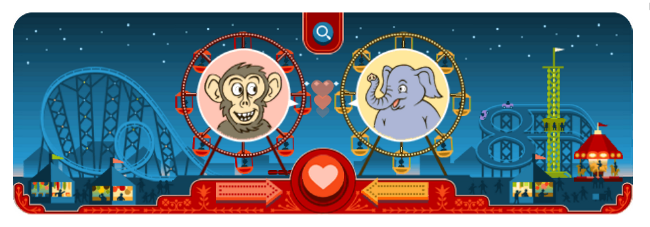 Google Doodle 14 February 2013: Happy Valentine's Day and 154th birthday to George Ferris!
