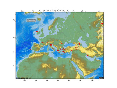 Map of Euro-Med earthquakes