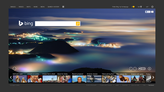 New Bing homepage
