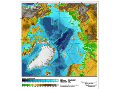 Topographic map of the Arctic Ocean