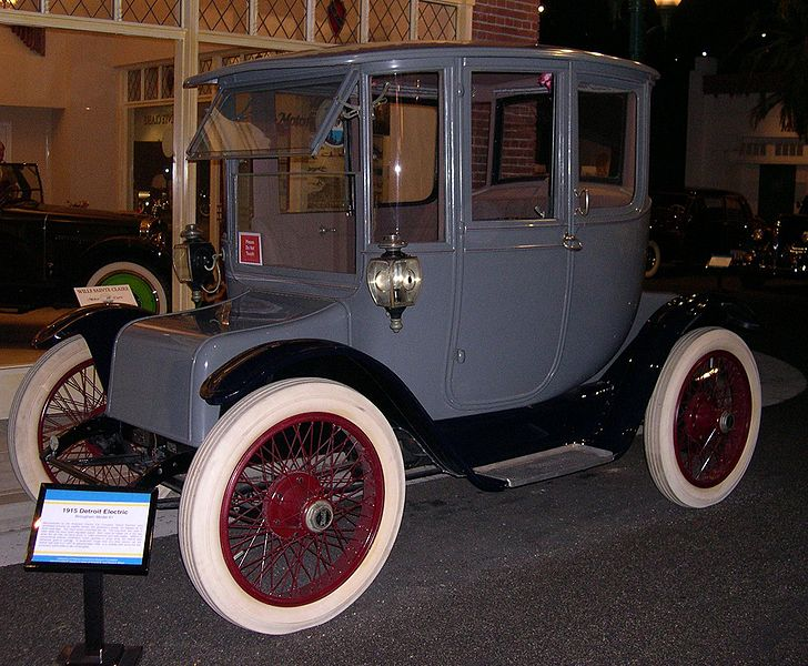 1915 Detroit Electric model. Image via the Petersen Automotive Museum in Los Angeles, California