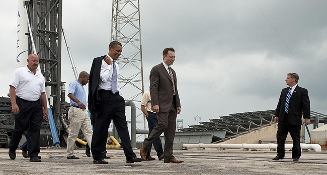 President Barack Obama pictured being given a tour of the commercial rocket processing facility of Space Exploration Technologies, known as SpaceX, along with Elon Musk, SpaceX CEO, at Cape Canaveral Air Force Station, Cape Canaveral, Florida, in April 2010. Credit: NASA/Bill Ingalls