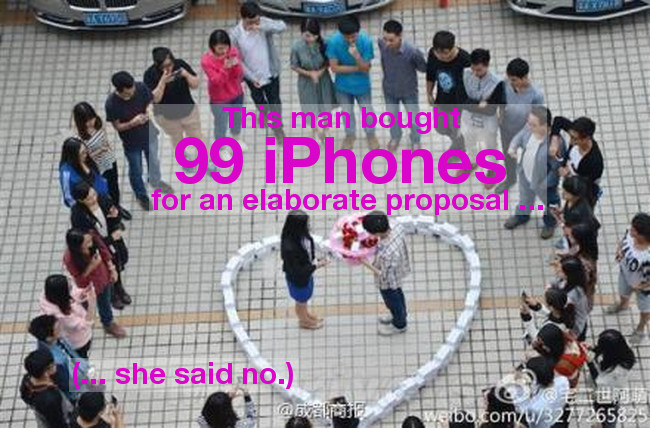 Proposal with 99 iPhones