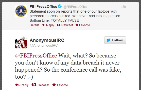 Twitter - AnonymousIRC and FBIPressOffice