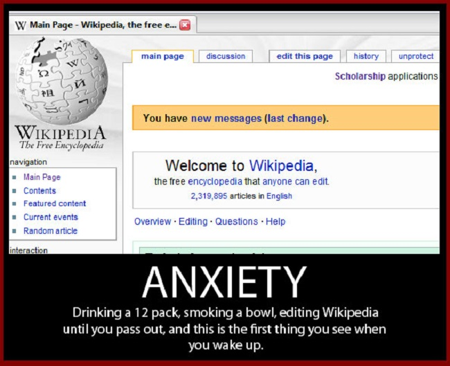 Anxiety on Wikipedia