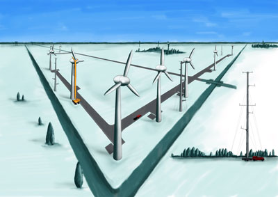 Artist's impression of Ecofys wind turbine test site