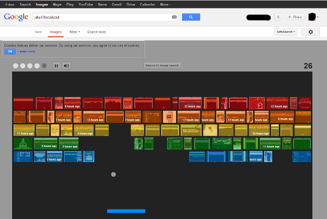 Screen shot of the Google Image Search Easter egg for Atari Breakout