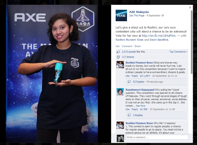 Roshini 'Rose' Muniam's photo and her response to negative comments on the AXE Malaysia Facebook page