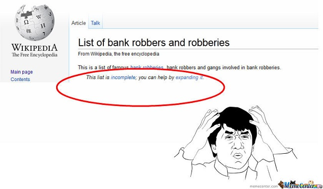 List of bank robberies on Wikipedia