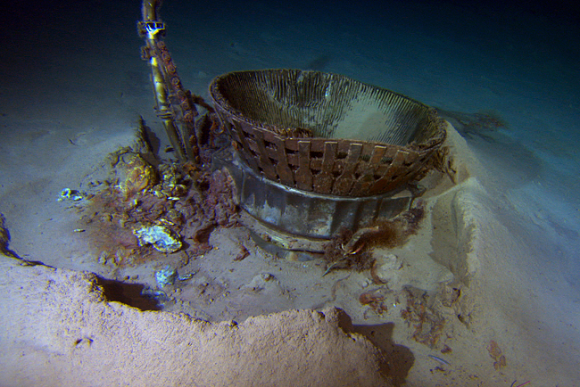 F-1 engine thrust chamber pictured underwater (image via Bezos Expeditions)