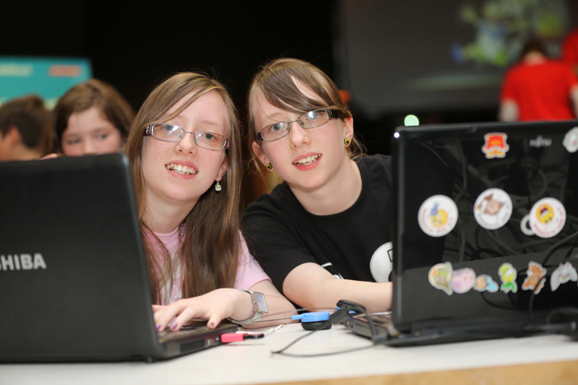 Pictured at the CoderDojo Coolest Projects Awards were twin sisters and participants Aoife and Katie from Co Laois