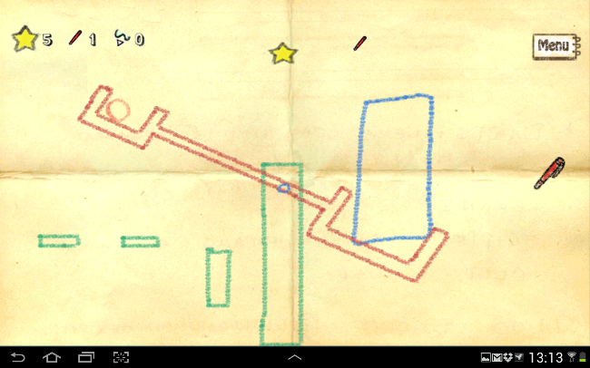 Screenshot of Crayon Physics gameplay on Samsung Galaxy Note 10.1