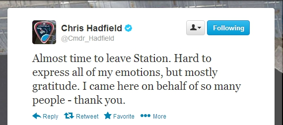 Tweet from Chris Hadfield @Cmdr_Hadfield