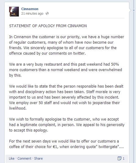 Cinnamon's apology on Facebook