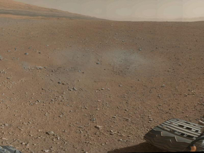 A segment of the first colour 360-degree panorama from NASA's Curiosity rover, made up of thumbnails - small copies of higher-resolution images. The mission's destination, a mountain at the center of Gale Crater called Mount Sharp, can be seen in the distance. Image credit: NASA/JPL-Caltech/MSSS