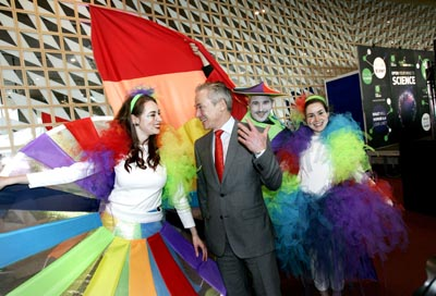 Ireland's Minister for Jobs, Enterprise and Innovation Richard Bruton, TD, pictured with St Patrick's Festival performers Rachel Lally, Vijaya Bateson and Grace Kelly at the offical launch of Dublin City of Science 2012 on 26 January last. in 2012, there will be more than 160 science-related events happening all over Ireland throughout the year. The highlight will be ESOF 2012 in July, when the world's scientific community will be descending upon Dublin. In addition, ESOF will host the Europe - US Symposium on the Atlantic Ocean as a shared resource