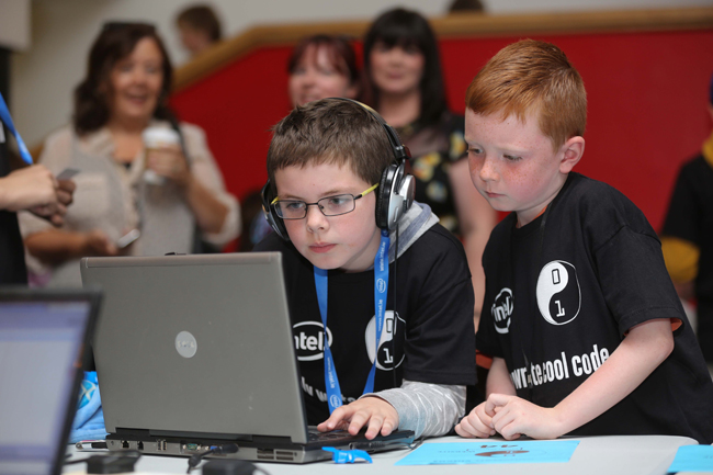 Ethan Whelan from Lucan and Ryan Sheridan from Finglas pictured taking part in the CoderDojo Coolest Projects gala at DCU on Saturday. Credit: Conor McCabe Photography