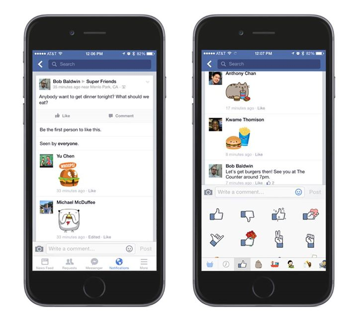Facebook stickers on mobile