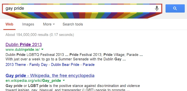 Google search gay pride Easter egg