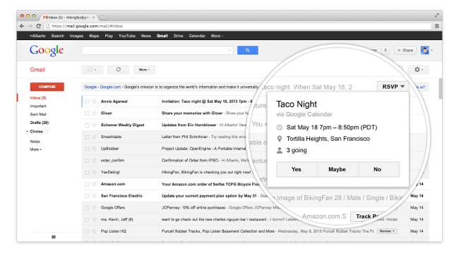 Gmail inbox with quick action buttons