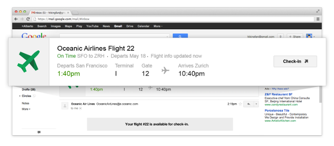 Email opened in Gmail with flight information