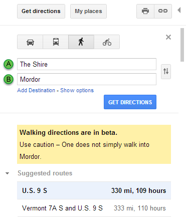 Google Maps search Easter egg - The Shire to Mordor