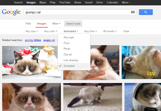 Google Images - animated image search filter