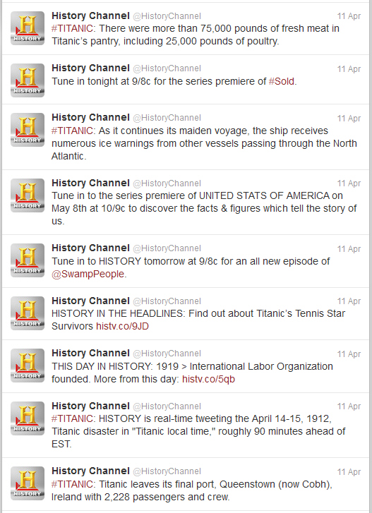 History Channel Twitter feed