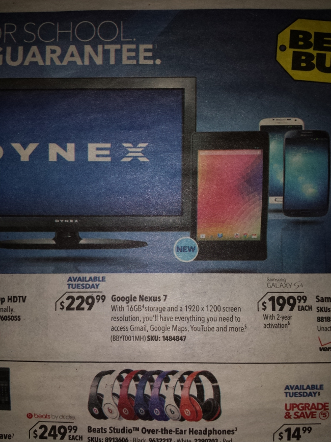 Best Buy ad with Google Nexus 7 - Phone Arena
