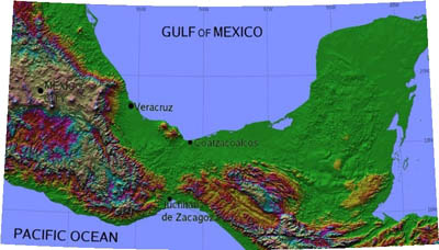 The Isthmus of Tehuantepec lies between the Gulf of Campeche on the Gulf of Mexico to the north, and the Gulf of Tehuantepec on the Pacific Ocean to the south