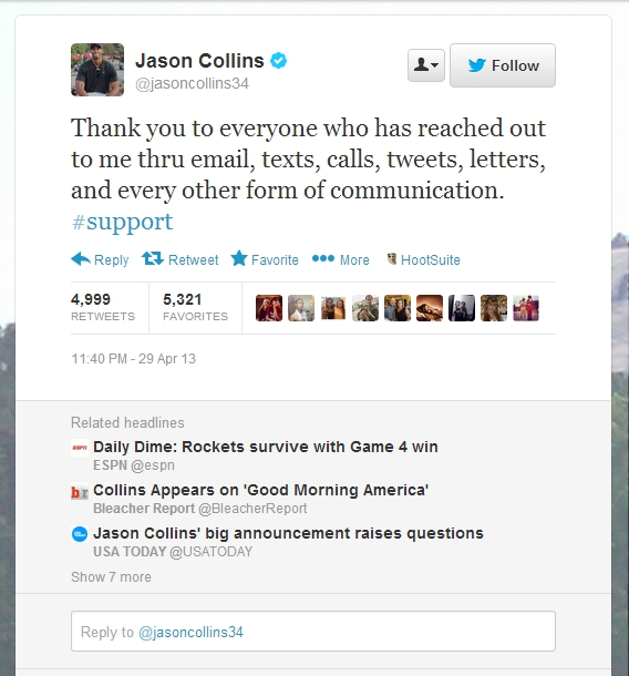 Jason Collins tweet with related headlines - Twitter