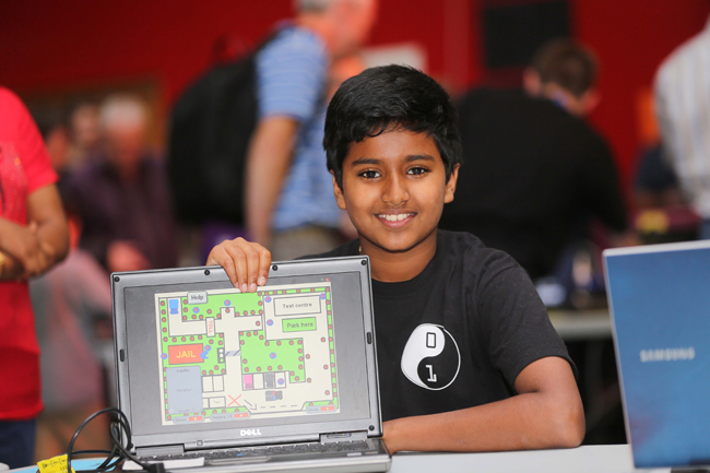Joel from Dublin pictured at CoderDojo at DCU