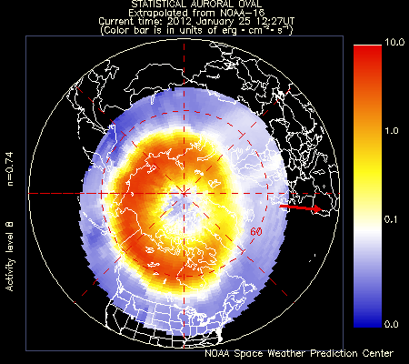 Latest Northern Statistical Auroral Oval. Image courtesy of NOAA Space Weather Prediction Center
