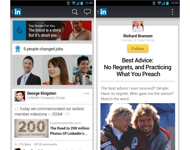 Screenshots from the new LinkedIn app on Android