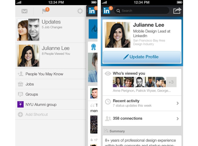 Screenshots from the new LinkedIn app on iPhone