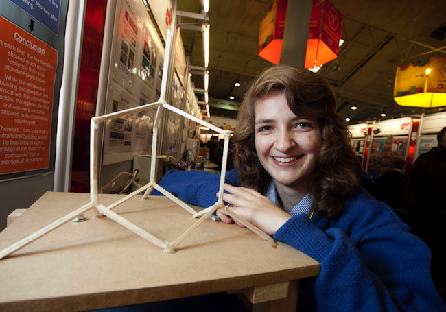 Lucy and project at BT Young Scientist