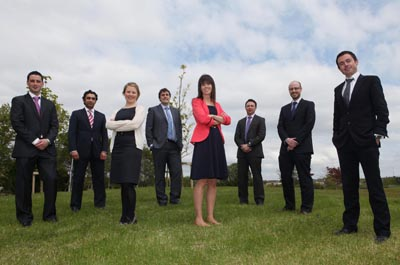 2012-2013 BioInnovate fellows. From left: Kyle McCool, Ashwin Kherr, Caroline Gaynor, David Brody, Sarah Loughney, Michael Morrissey, Chris McBrearty and Conor Harkin