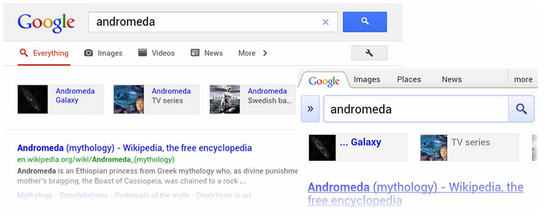 'andromeda' search on Google's Knowledge Graph for mobile devices