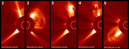The sun produced five eruptions over a two-day period. The fourth eruption hurled white-hot material (circular inset) high into the solar corona. Image credit NASA/SOHO/H. Zell