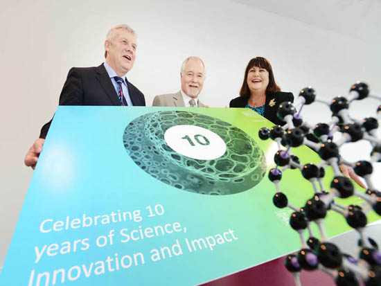 Minister of State Fergus O'Dowd, TD; CRANN director Prof John Boland; and EU Commissioner for Science, Research and Innovation Máire Geoghegan-Quinn pictured at the nanoscience institute today