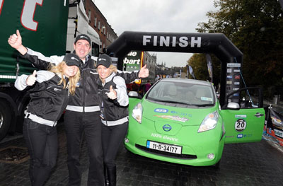 Nissan LEAF crosses the line in Kilkenny City for Cannonball Run