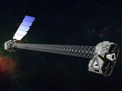Artist's concept of NuSTAR on orbit. NuSTAR has a 10-m (30') mast that deploys after launch to separate the optics modules (right) from the detectors in the focal plane (left). The spacecraft, which controls NuSTAR's pointings, and the solar panels are with the focal plane. Image credit: NASA/JPL-Caltech