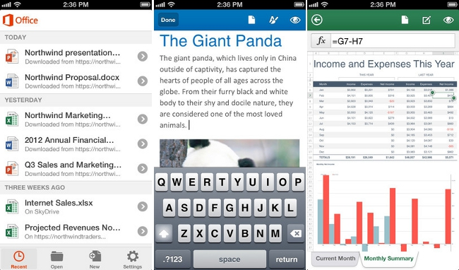 Screenshots of Microsoft Office for iPhone