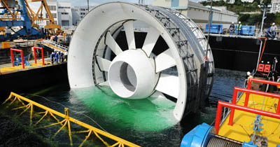 OpenHydro tidal turbine. EDF is delpoying OpenHydro's tidal turbine technologies for the world's largest tdal windfarm that is being constructed off the coast of France
